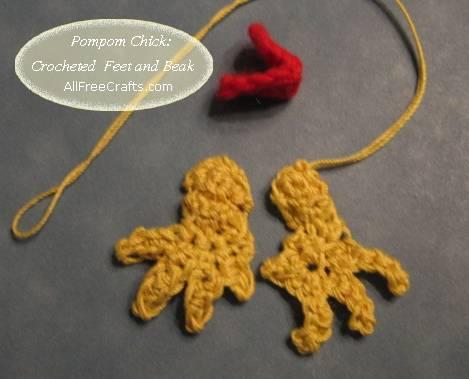 crocheted chicken feet and beak