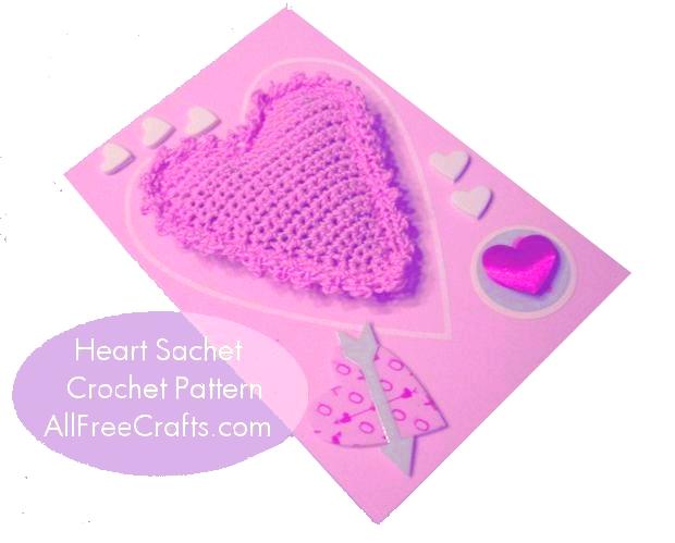 crocheted heart sachet