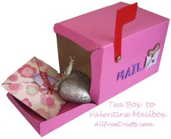 Tea box recycled into a Valentine mailbox