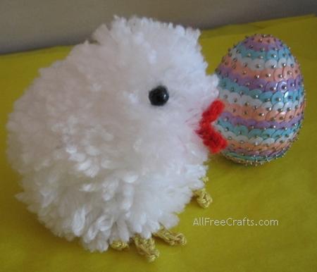 vintage pompom chick with sequined egg