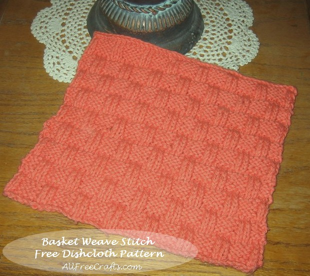 Basket Weave Dishcloth Knitting Pattern - Free