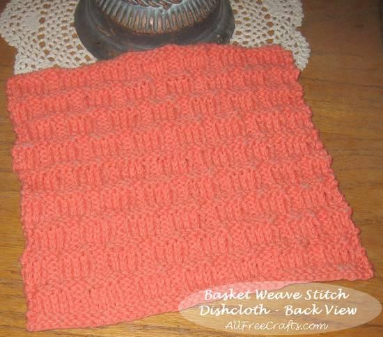 basket weave stitch dishcloth - back view