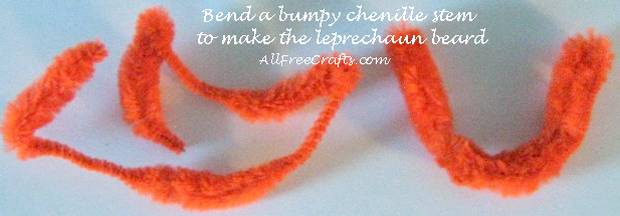 making a bumpy chenille stem into the leprechaun beard