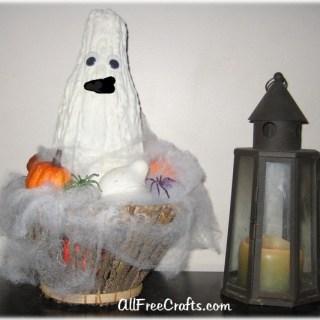 Halloween gourd ghost centerpiece