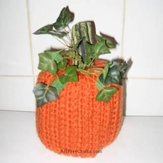 crocheted pumpkin toilet paper cover pattern