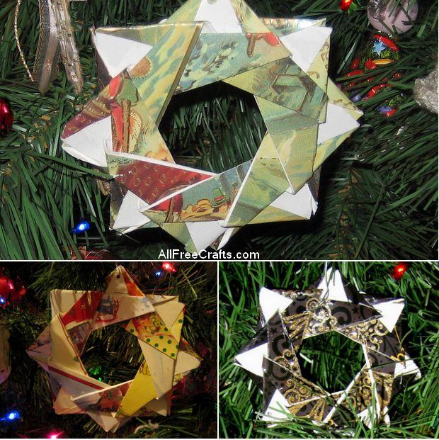 origami Christmas card stars