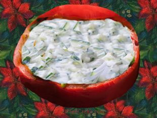sweet pepper bowl filled with dip