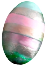 Easter egg painted with nail polish stripes