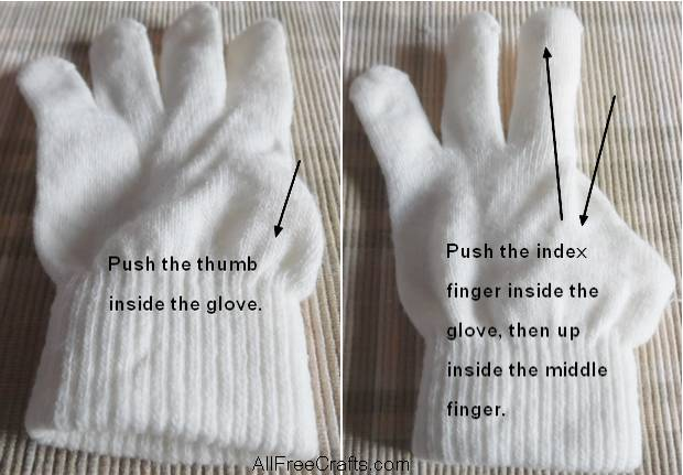 turning the thumb and fingers of a knit glove into bunny ears