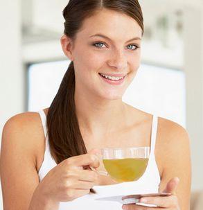woman drinking parsley tea