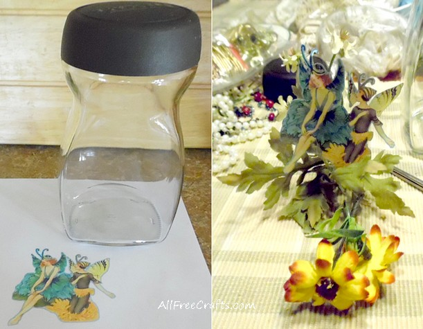 choosing a fairy image and glass jar