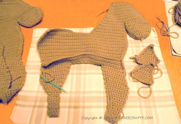 crocheted horse sections