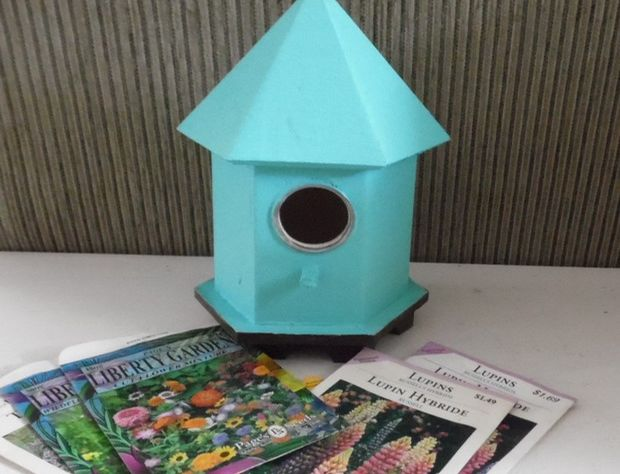 painted bird box waiting for decoupage