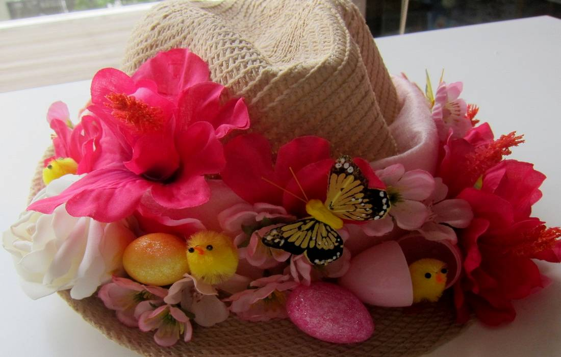 homemade straw Easter bonnet