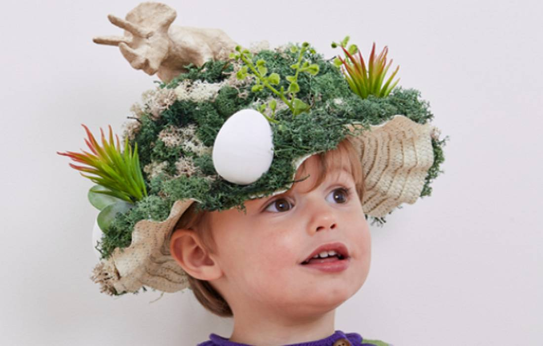 dinosaur straw Easter bonnet