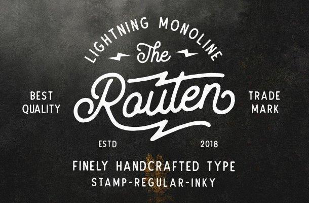 Routen Lightning Monoline Font