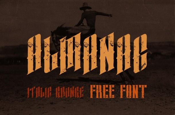 Almanac Italic Grunge Font