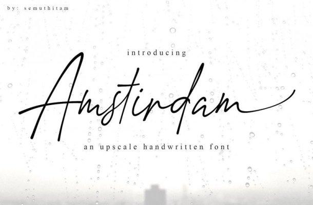 Amstirdam Handwritten Script Font Free