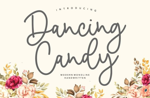 Dancing Candy Monoline Handwritten Font
