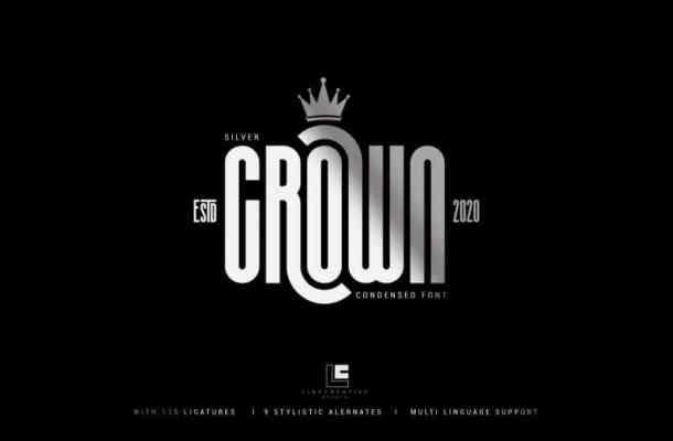 Silver Crown – Condensend Font