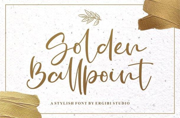 Golden Ballpoint Handwritten Script Font