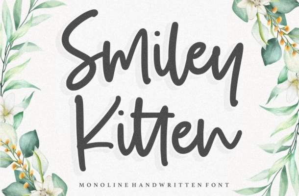Smiley Kitten Monoline Handwritten Font