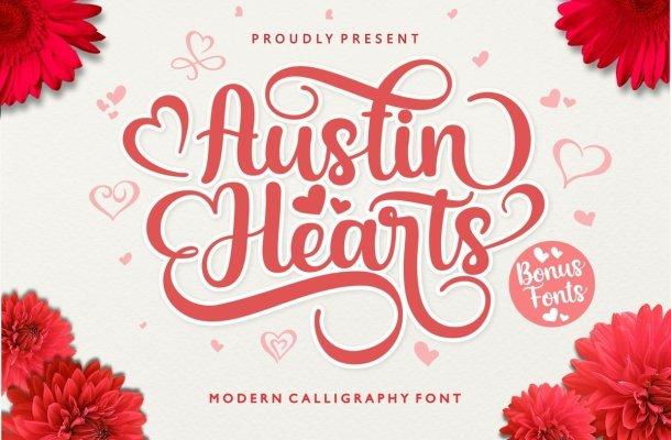 Austin Hearts Calligraphy Script Font