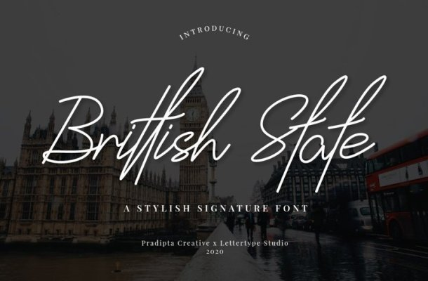 Brittish State Handwritten Font