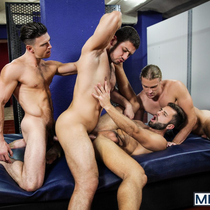 four muscular guys having orgy