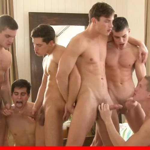 six hung boys have orgy