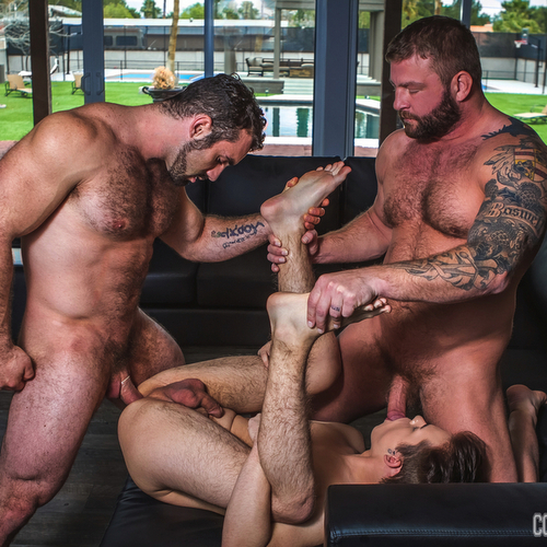 two beefy hunks drill naughty boy