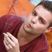 horny twink smoking while jerking
