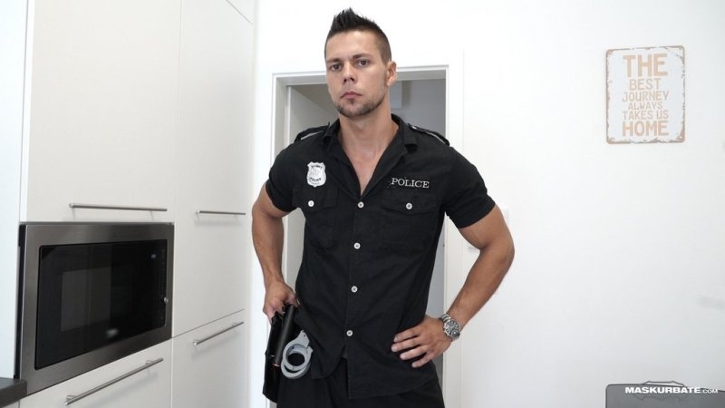 Sexy Officer Takes Off His Uniform 01