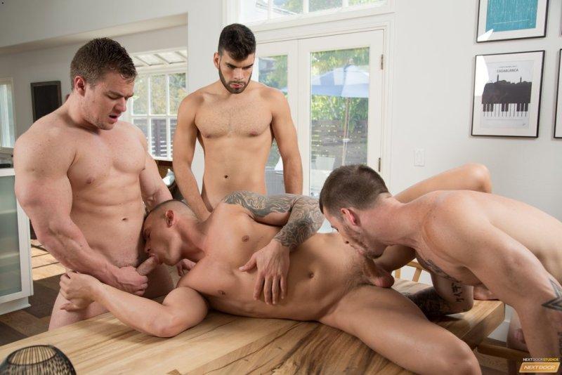 Sexy Guys Having Bareback Foursome 01