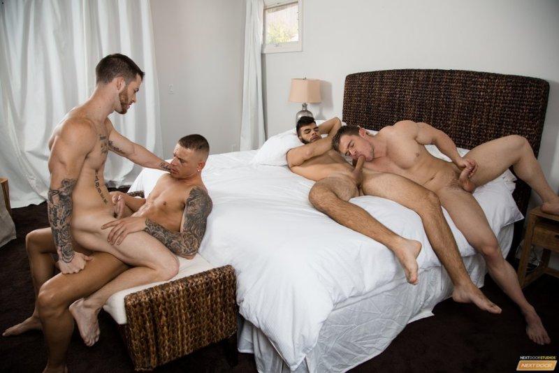 Sexy Guys Having Bareback Foursome 02