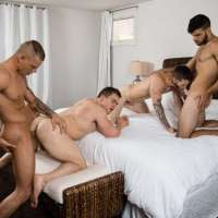 sexy guys having bareback foursome