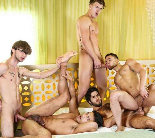 five horny guys fuck hard