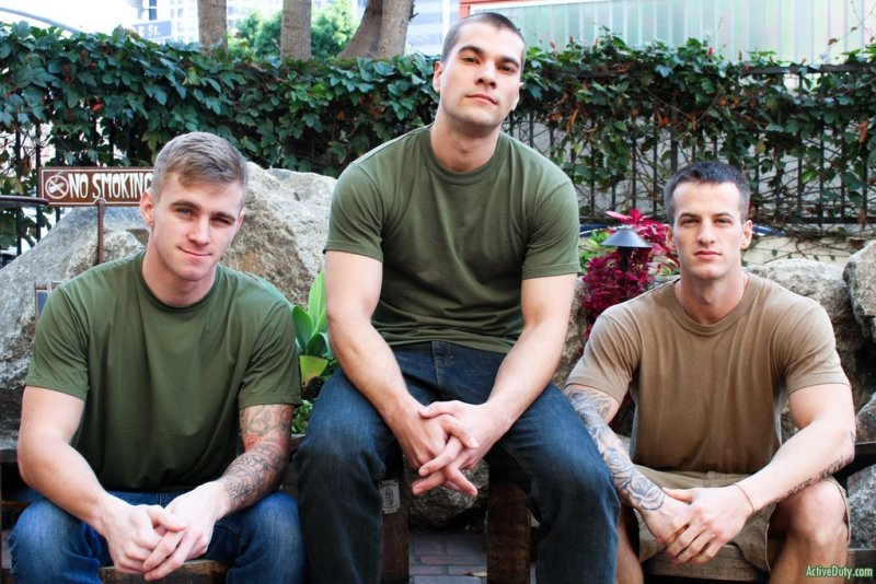Three Hot Military Guys Fuck Raw 01