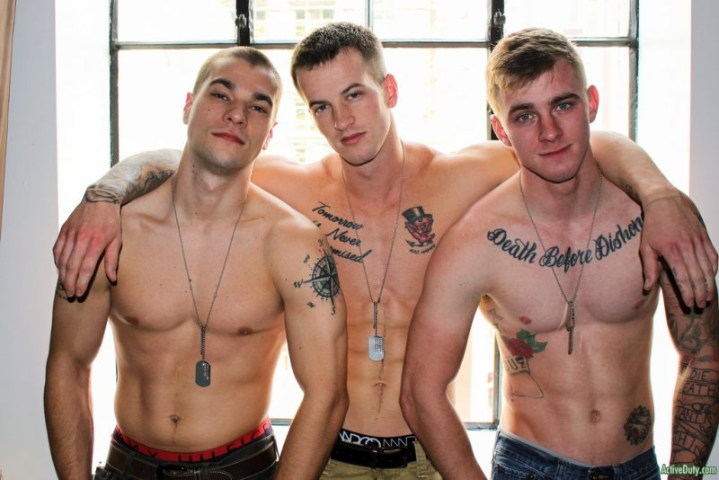 Three Hot Military Guys Fuck Raw 04