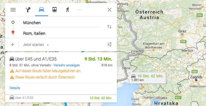 Google Maps warnt vor Fahrten durch Österreich