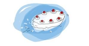 ...fliegt die Torte...