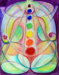 Fine art divine spiritual artwork, lotus yoga position and chakra system.
