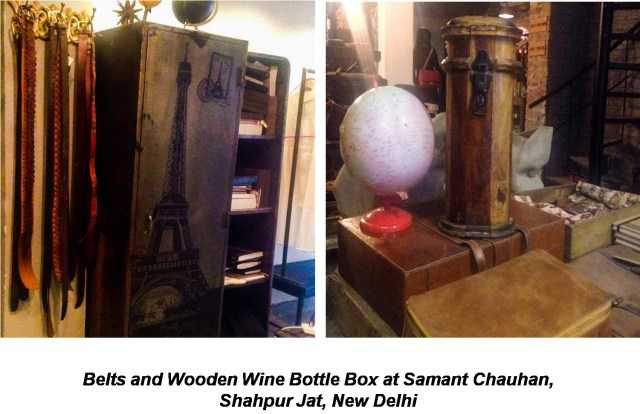 Leather Belts & wooden wine bottle box at Samant Chauhan Shahpur Jat Delhi
