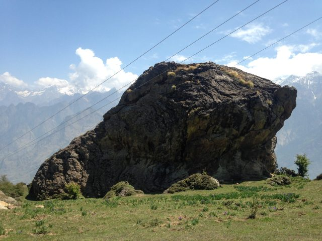 Rock formations in meadows at Auli in Uttarakhand: Auli in Summers