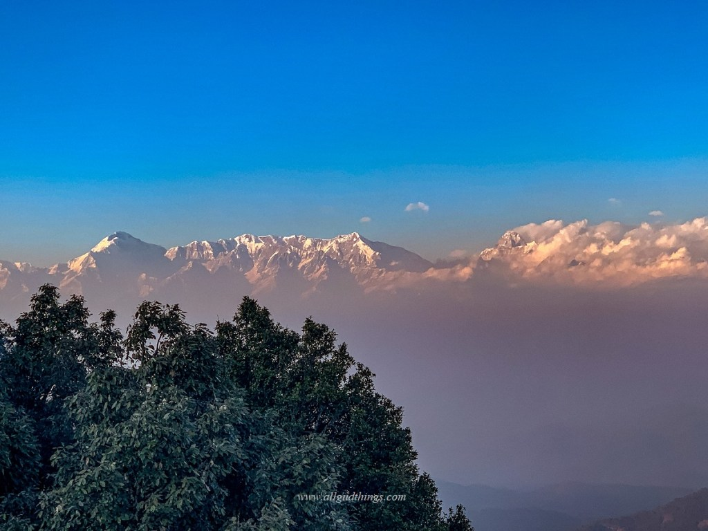 Himalayan Peaks view from KMVN - Sunrise