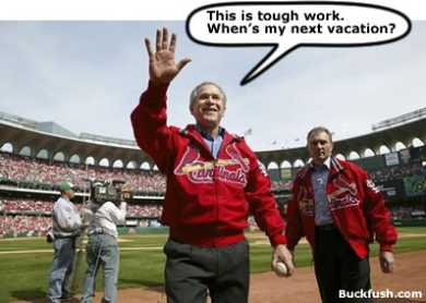 Bush at baseball, cartoon