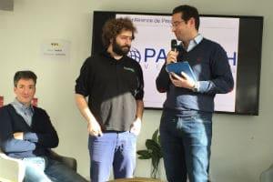 De gauche à droite : Boris Golden (Partech Ventures), Arthur Waller (PriceMatch) et Romain Lavault (Partech Ventures). © Charlie Perreau