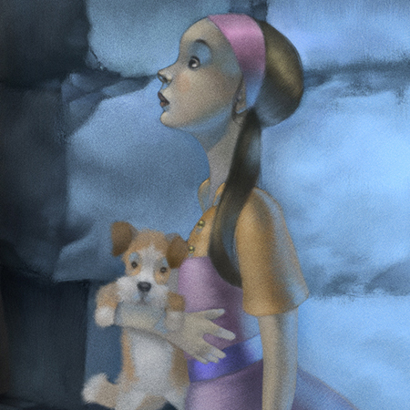 stylised illustration of a girl and dog