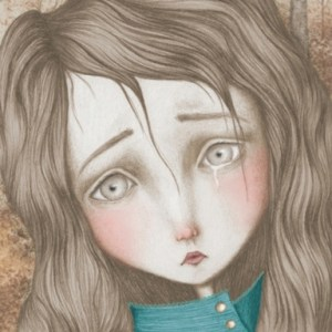 A stylised illustration of a girl crying_Allied Artists