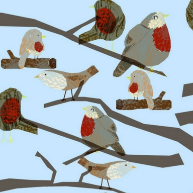 surface pattern illustration of robins in a tree_allied artists